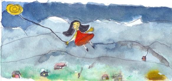 """Ilustração para o conto: """"Una noche en los sueños de Andina. Aquarela - 10x20cm - 2008."""