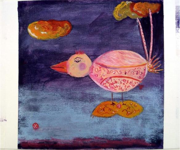 Ucello Técnica mista Ilustração realizada durante curso na Fondazione Mostra di Illustrazione, Sarmede Itália, 2007
