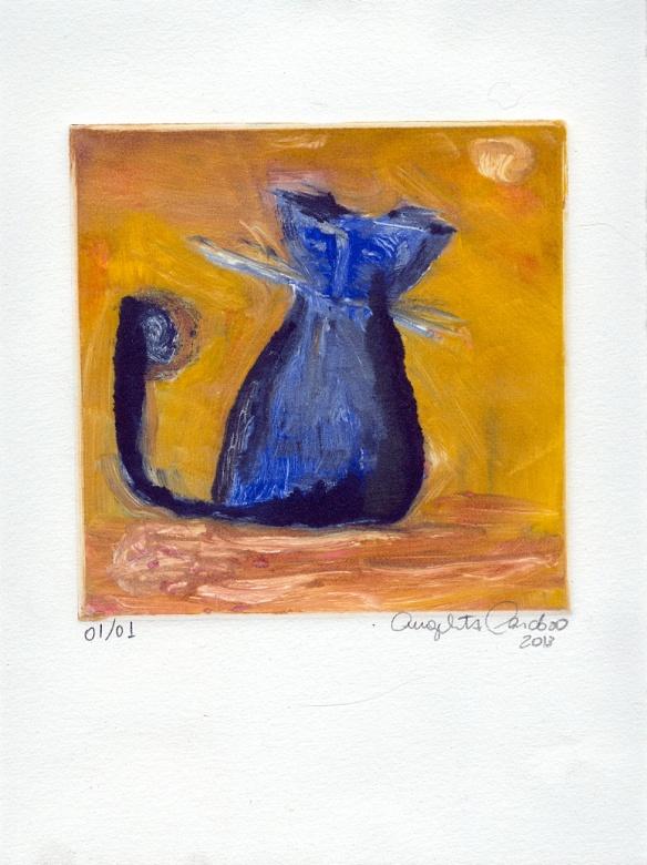 O Gato e o Rabo Monotípia 20x27cm 2013