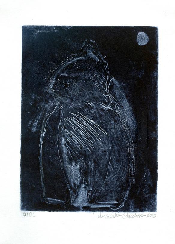 Gato noturno Monotípia 20x27cm 2013