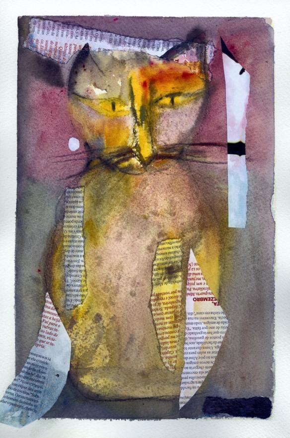 Senhor Gato. Aquarela/colagem. - 2010